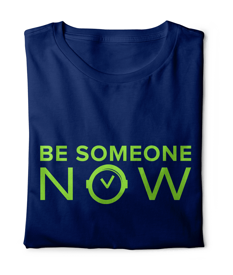 Be-Someone-Now-Scan-Inc-Navy-Blue-Tshirt-with-Green-Letters