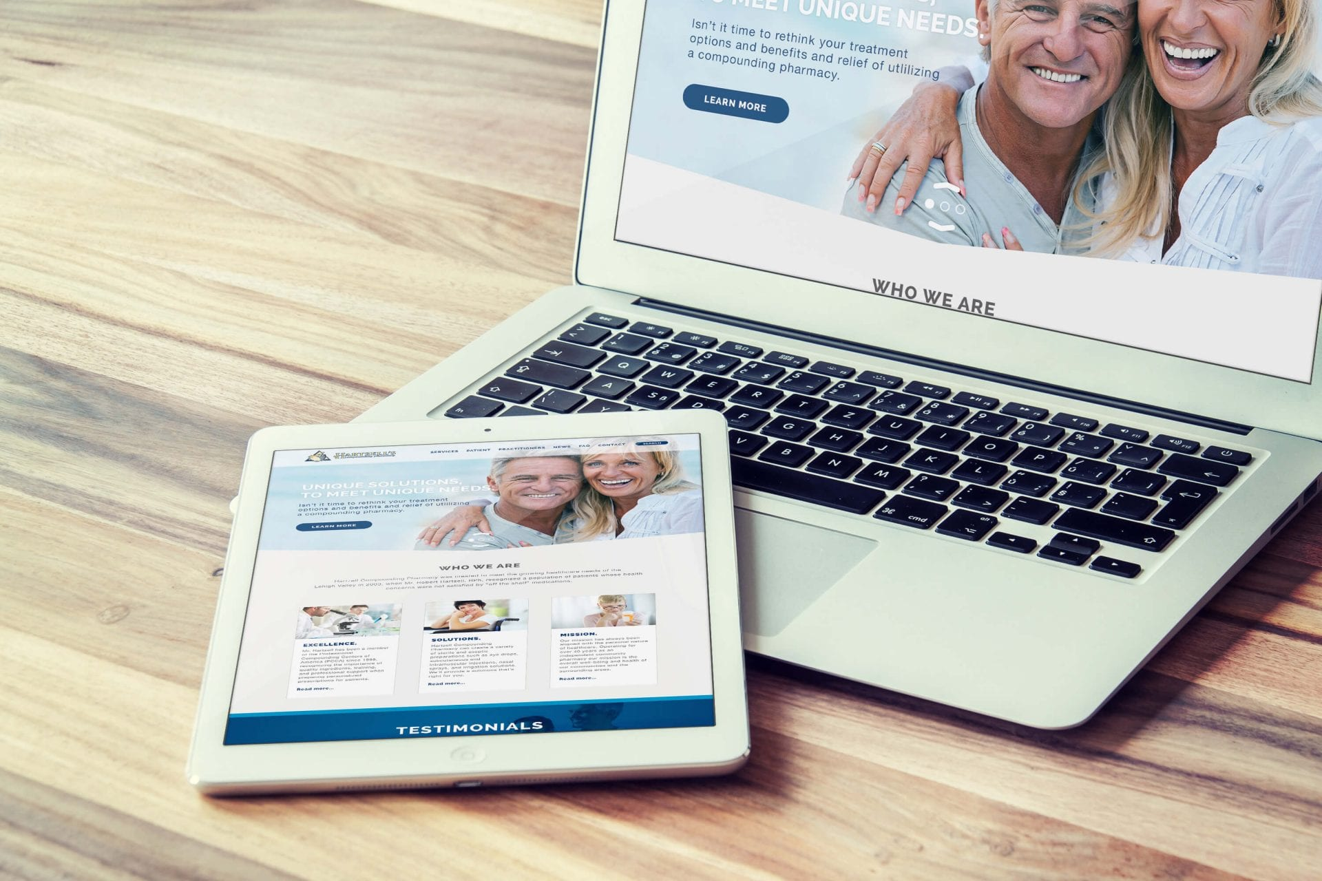 Hartzel Compounding Pharmacy Responsive Web Design Mockup iPad Macbook